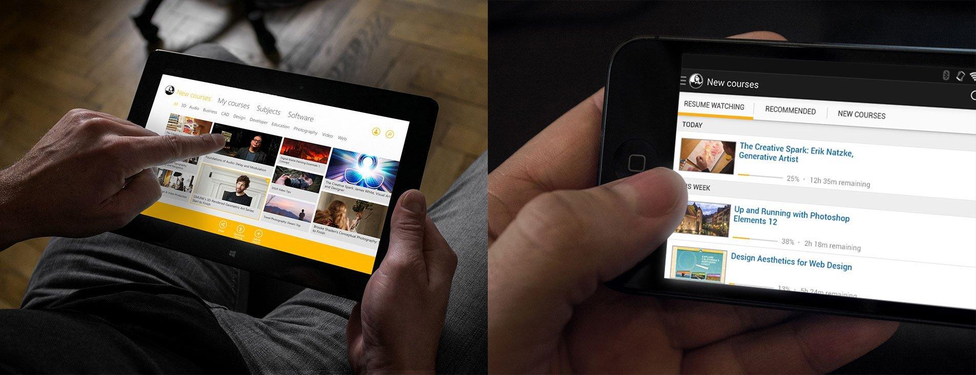 lynda.com device mockups