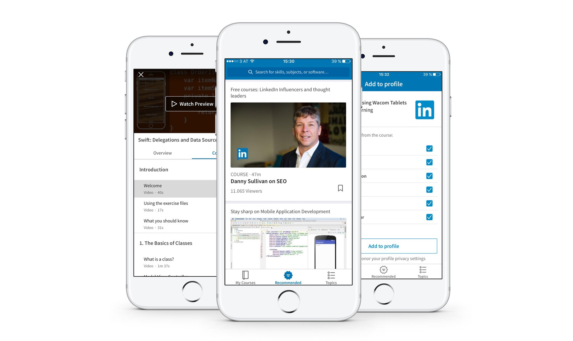 Linkedin learning iOS app screenshots.