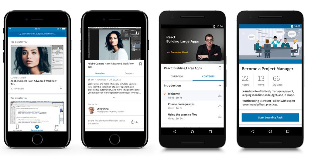 Screen captures of the LinkedIn learning mobile experience.